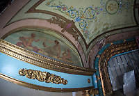 Renovation work done by Bonnette, Page and Stone at the Colonial Theater in downtown Laconia.  Ornate woodwork and detailed paintings in the Upper Balcony stage area.   ©2016 Karen Bobotas Photographer