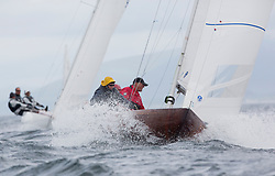 International Dragon Class Edinburgh Cup 2015.<br /> <br /> The first days racing in a strong southerly.<br /> <br /> GBR633, FEI-LIN'S FLIRTATION, Ron James, Royal Forth YC<br /> <br /> <br /> Credit Marc Turner
