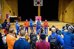 February 9, 2018 - Pyeongchang, SOUTH KOREA - 180209 Simen Hegstad KrŸger, Johannes HÂ¿sflot Kl¾bo, Hans Christer Holund and Martin Johnsrud Sunby of Norway during a press event with the Norwegian men's cross-country team during the 2018 Winter Olympics on February 8, 2018 in Pyeongchang..Photo: Jon Olav Nesvold / BILDBYRN / kod JE / 160147 (Credit Image: © Jon Olav Nesvold/Bildbyran via ZUMA Press)