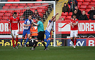 Blackburn Rovers striker, Jordan Rhodes (11) scoring to make the score 1-1 during the Sky Bet Championship match between Charlton Athletic and Blackburn Rovers at The Valley, London, England on 23 January 2016. Photo by Matthew Redman.