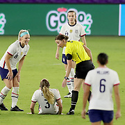 ORLANDO, FL - JANUARY 22:  Julie Ertz #8 of United States consoles Samantha Mewis #3 of United States after an injury against Colombia at Exploria Stadium on January 22, 2021 in Orlando, Florida. (Photo by Alex Menendez/Getty Images) *** Local Caption *** Samantha Mewis; Julie Ertz