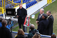 Football Focus giving an interview during the The FA Cup 5th round match between AFC Wimbledon and Millwall at the Cherry Red Records Stadium, Kingston, England on 16 February 2019.