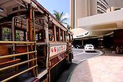 Waikiki Trolley outside the Sheraton Waikiki Hotel. Waikiki, Honolulu, Hawaii
