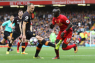 Sadio Mane of Liverpool is blocked by David Meyler of Hull City. Premier League match, Liverpool v Hull City at the Anfield stadium in Liverpool, Merseyside on Saturday 24th September 2016.<br /> pic by Chris Stading, Andrew Orchard sports photography.