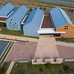 Drone view of the visitor center at the Harriet Tubman Underground Railroad State Park in Church Creek, Maryland.