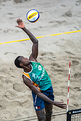 Cherif Younousse Samba QAT in action during the third day of the beach volleyball event King of the Court at Jaarbeursplein on September 11, 2020 in Utrecht.