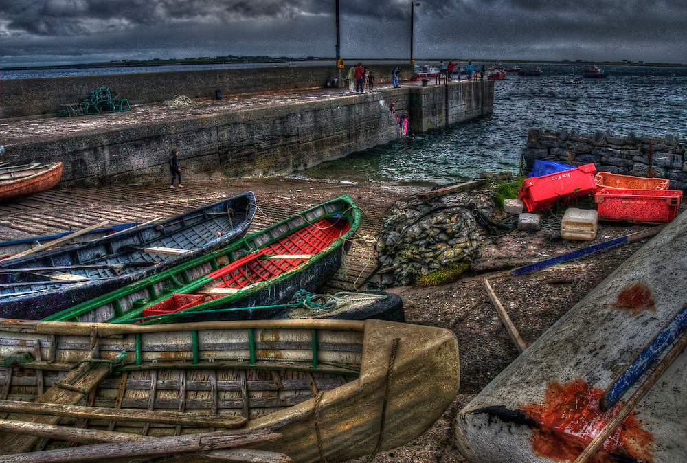 Rowing boats on the beach in Ireland marina pier
