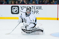 KELOWNA, CANADA - OCTOBER 2: Jack Campbell #1 of the Los Angeles Kings makes a save against Edmonton Oilerson October 2, 2016 at Kal Tire Place in Vernon, British Columbia, Canada.  (Photo by Marissa Baecker/Shoot the Breeze)  *** Local Caption *** Jack Campbell;