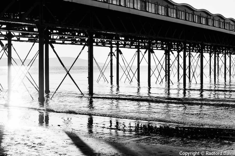 Grand Pier, Weston-super-Mare, England, black and white