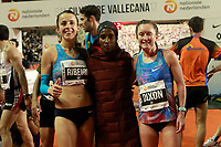 Gelete Burka, winner, Dixon, 2nd (r) and Ribeiro, 3rd, celebrate after the San Silvestre Vallecana 2017. December 31,2017. (ALTERPHOTOS/Acero)