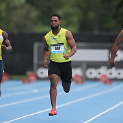 Tyson Gay, USA, (centre) winning the Men's 100m race, at the Diamond League Adidas Grand Prix at Icahn Stadium, Randall's Island, Manhattan, New York, USA. 25th May 2013. Photo Tim Clayton