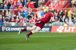 September 9, 2017 - Limerick, Ireland - Chris Farrell of Munster scores a try during the Guinness PRO14 rugby match between Munster Rugby and Cheetahs Rugby at Thomond Park in Limerick, Ireland on September 9, 2017  (Credit Image: © Andrew Surma/NurPhoto via ZUMA Press)