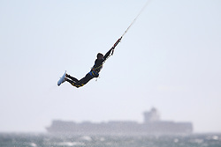 Ryan Siegelberg of South Africa during the Red Bull King of the Air kiteboarding competition held at Big Bay in Cape Town, South Africa on the 2nd February 2017.<br /> <br /> Photo by Shaun Roy