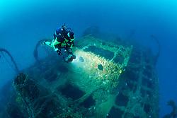 Schiffswrack Baron Gautsch und Taucher, Shipwreck Baron Gautsch and scuba diver, Adriatic Sea, Mediterranean Sea, Istria, Croatia, Adria, Adriatisches Meer, Mittelmeer, Istrien, Kroatien, MR Yes