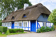 Quaint thatched cottage home in Troense, Tasinge Island off Svendborg, of South Funen Archipelago, Denmark