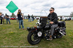 Jeff Milburn headed out on his Class II 1937 Harley-Davidson WL 750cc Flathead from Aune Osborne Park in Sault Sainte Marie, the site of the official start of the Cross Country Chase motorcycle endurance run from Sault Sainte Marie, MI to Key West, FL. (for vintage bikes from 1930-1948). Thursday, September 5, 2019. Photography ©2019 Michael Lichter.