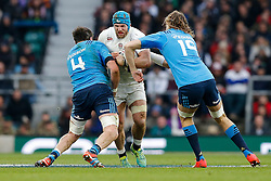 England Flanker James Haskell is tackled by Lock George Biagi and Italy replacement Josh Furno - Photo mandatory by-line: Rogan Thomson/JMP - 07966 386802 - 14/02/2015 - SPORT - RUGBY UNION - London, England - Twickenham Stadium - England v Italy - 2015 RBS Six Nations Championship.