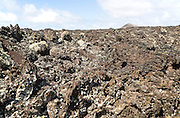 Close up of lava flow basalt rock on Lanzarote, Canary Islands, Spain