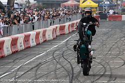 Ride and Destroy Bell Helmets stunt team at the RSD Moto Beach Classic. Huntington Beach, CA, USA. Sunday October 28, 2018. Photography ©2018 Michael Lichter.