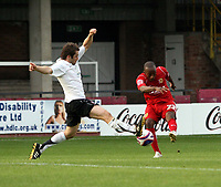 Photo: Mark Stephenson.<br /> Hereford United v Milton Keynes Dons. Coca Cola League 2. 20/10/2007.M K Dons Nathan Abbey tries a shot which is blocked by Hereford's Ben Smith