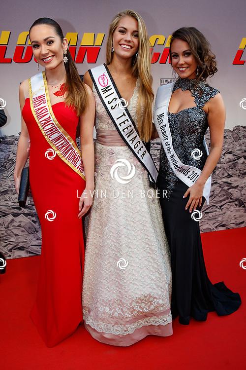 AMSTERDAM - In Theater Tuschinski is de première van Logan Lucky. Met hier op de foto (l) Miss Asia Pacific International 2016; Tessa le Conge, (m) Miss Teenager; Lotte van der Zee, (r) Miss Beauty of the Netherlands 2016; Kimberley Xhofleer. FOTO LEVIN & PAULA PHOTOGRAPHY VOF