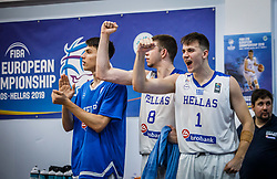 Rogkavopoulos  Nikolaos of Greece, Sotiriou  Aristotelis of Greece during basketball match between National teams of Greece and Slovenia in the Group Phase C of FIBA U18 European Championship 2019, on July 29, 2019 in  Nea Ionia Hall, Volos, Greece. Photo by Vid Ponikvar / Sportida