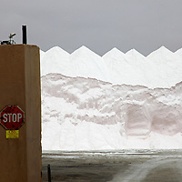Africa, Namibia, Walvis Bay. Salt Pan Refinery Salt Piles.