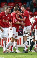 Photo: Dave Linney.<br />Walsall v Barnet. Coca Cola League 2. 24/02/2007.<br />New Walsall signing  Kevin Cooper(second from right) celebrates after making it 1-1.