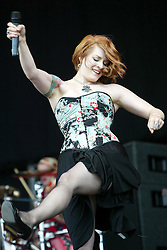 Ana Matronic, singer of the American band Scissor Sisters, play the main stage on T in the Park 2004, on stage at T in the Park 2004, at Balado, Fife, wearing a tartan cloth...