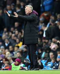 West Ham United manager David Moyes gestures on the touchline during the Premier League match at the Etihad Stadium, Manchester.