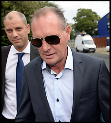 Former England footballer Paul Gascoigne arriving at Stevenage Magistrates Court in Hertfordshire, Monday, 5th August 2013. Gascoigne, 46, was charged last month with two counts of common assault following an incident at Stevenage railway station on July 4.<br /> Picture by Andrew Parsons / i-Images
