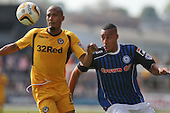 Chris Zebroski of Newport (left) and Rhys Bennett of Rochdale battle for the ball. Skybet football league two match, Newport county v Rochdale at Rodney Parade in Newport, South Wales on Saturday 3rd May 2014.<br /> pic by Mark Hawkins, Andrew Orchard sports photography.