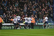 Wycombe Wanderers Players Celebrate after Wycombe Wanderers Defender, Joe Jacobson (3) scores a goal during the EFL Sky Bet League 1 match between Portsmouth and Wycombe Wanderers at Fratton Park, Portsmouth, England on 22 September 2018.
