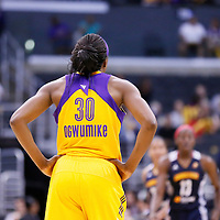 03 August 2014: Los Angeles Sparks forward Nneka Ogwumike (30) rests during the Los Angeles Sparks 70-69 victory over the Connecticut Sun, at the Staples Center, Los Angeles, California, USA.
