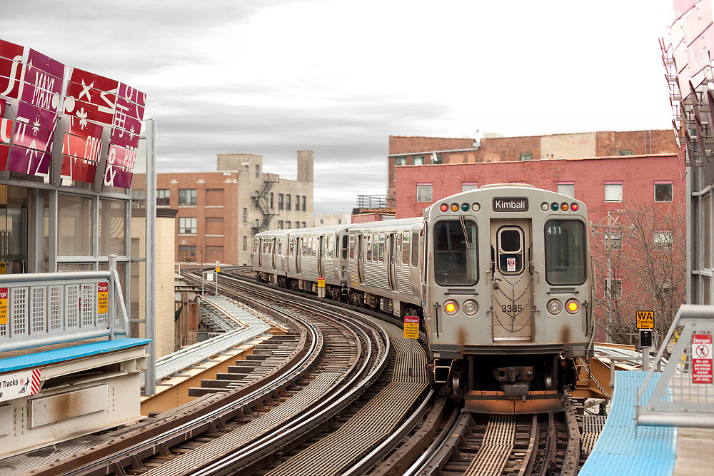 Chicago, Illinois, United States - Train at Brown Line in Chicago downtown.