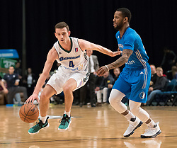 March 20, 2017 - Reno, Nevada, U.S - Reno Bighorn Guard DAVID STOCKTON (4) drives against Texas Legends Guard PIERRE JACKSON (55) during the NBA D-League Basketball game between the Reno Bighorns and the Texas Legends at the Reno Events Center in Reno, Nevada. (Credit Image: © Jeff Mulvihill via ZUMA Wire)