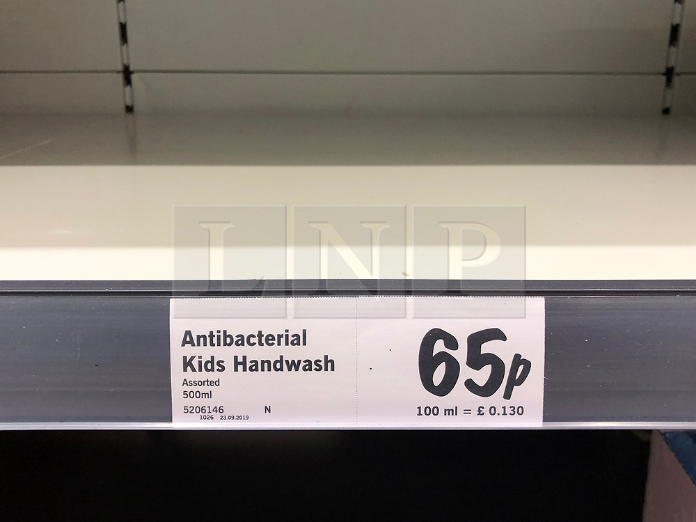 © Licensed to London News Pictures. 13/03/2020. Leeds UK. LIDL LEEDS. Empty Antibacterial hand wash shelves at Lidl in the Halton area of Leeds this morning as people continue to panic buy in fear of quarantine measures and shortages as the current Coronavirus ( COVID-19 ) spread starts to impact more people. Photo credit: Andrew McCaren/LNP