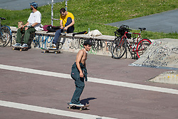 After the end of the quarantine in Italy the people begins again to working out in the city parks. In the photo: a skater in Piazza Valdo Fusi, Turin (Italy) on May 4, 2020. Photo by Marco Piovanotto/ABACAPRESS.COM