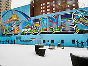 31 JANUARY 2020 - DES MOINES, IOWA: A mural in downtown Des Moines. Downtown Des Moines is preparing the caucuses, which are Monday, February 3. The city has hung banners throughout the city center and put signs in the skywalk. Some candidates are also buying advertising in the skywalk.    PHOTO BY JACK KURTZ