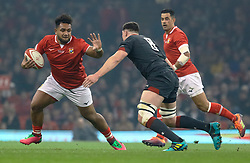 Sione Vailanu of Tonga under pressure from Seb Davies of Wales<br /> <br /> Photographer Simon King/Replay Images<br /> <br /> Under Armour Series - Wales v Tonga - Saturday 17th November 2018 - Principality Stadium - Cardiff<br /> <br /> World Copyright © Replay Images . All rights reserved. info@replayimages.co.uk - http://replayimages.co.uk