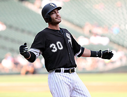 August 21, 2017 - Chicago, IL, USA - Chicago White Sox third baseman Nicky Delmonico (30) reacts after his ground out during the first inning against the Minnesota Twins on Monday, Aug. 21, 2017 at Guaranteed Rate Field in Chicago, Ill. (Credit Image: © Nuccio Dinuzzo/TNS via ZUMA Wire)