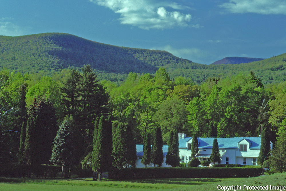 Home nestled among the trees in the Catskill mountains Woodstock New York with some local peaks in the background