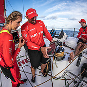 Leg 4, Melbourne to Hong Kong, day 04 on board MAPFRE, Xabi Fernandez showing to Sophie Ciscek where are the other boarts on the ipad. Photo by Ugo Fonolla/Volvo Ocean Race. 05 January, 2018.