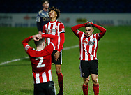 Leo Gaxha of Sheffield Utd reacts to a missed chance during the Professional Development League  match at the Proact Stadium, Chesterfield. Picture date: 3rd February 2020. Picture credit should read: Simon Bellis/Sportimage