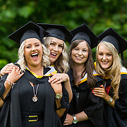 """23.08.2016        <br /> Over 300 students graduated from the Faculty of Arts, Humanities and Social Science at the University of Limerick today. <br /> <br /> Attending the conferring ceremony were Bachelor of Arts (Joint Honours) graduates, Fiona Burke, Dunmanway Co. Cork, Sally Greenwood, Abbotsford Canada, Aisling Butler, Caherdavin, Limerick and Niamh O'Brien. Picture: Alan Place.<br /> <br /> <br /> <br /> <br /> UL Graduates Employability remains consistently high as they are 14% more likely to be employed after Graduation than any other Irish University Graduate<br /> Each year, the Careers Service collects information about the 'First Destinations' of UL graduates. During the April/May period following graduation, we survey those who have completed full-time undergraduate and postgraduate courses for details on their current status. This current survey was conducted nine months after graduation and focuses on the employment and further study patterns of the graduates of 2015. A total of 2,933 graduates were surveyed and a response rate of 87% was achieved. <br /> As the University of Limerick commences four days of conferring ceremonies which will see 2568 students graduate, including 50 PhD graduates, UL President, Professor Don Barry highlighted the continued demand for UL graduates by employers; """"Traditionally UL's Graduate Employment figures trend well above the national average. Despite the challenging environment, UL's graduate employment rate for 2015 primary degree-holders is now 14% higher than the HEA's most recently-available national average figure which is 58% for 2014"""". The survey of UL's 2015 graduates showed that 92% are either employed or pursuing further study."""" Picture: Alan Place"""