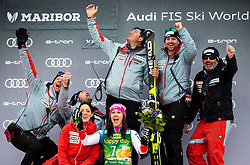 Third placed HOLDENER Wendy of Switzerland and her team celebrate during Trophy ceremony after the 7th Ladies'  Slalom at 55th Golden Fox - Maribor of Audi FIS Ski World Cup 2018/19, on February 2, 2019 in Pohorje, Maribor, Slovenia. Photo by Matic Ritonja / Sportida
