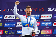 Podium, Time Trial Men 45,7 km, Victor Campenaerts (Belgium) gold medal during the Road Cycling European Championships Glasgow 2018, in Glasgow City Centre and metropolitan areas Great Britain, Day 7, on August 8, 2018 - Photo Luca Bettini / BettiniPhoto / ProSportsImages / DPPI - restriction - Netherlands out, Belgium out, Spain out, Italy out