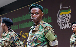 JOHANNESBURG, April 7, 2017  Veterans of uMkhonto weSizwe stand guard outside the Luthuli House in Johannesburg,?South?Africa, on April 7, 2017.?South Africans on Friday marched across the country calling for President Jacob Zuma to step down while his supporters also marched in solidarity with him. (Credit Image: © Yeshiel Panchia/Xinhua via ZUMA Wire)