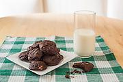 Chocolate cookies and milk, New York City.