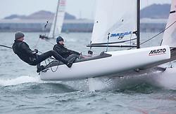 The RYA Youth National Championships came to a close today with racing in all fleets in strong winds on the Largs Channel.<br /> <br /> 126, William Smith, Abigail Clarke, Grafham SC/Lymington YC, Nacra 15 Open <br /> <br /> Images: Marc Turner / RYA<br /> <br /> For further information contact:<br /> <br /> Richard Aspland, <br /> RYA Racing Communications Officer (on site)<br /> E: richard.aspland@rya.org.uk<br /> m: 07469 854599